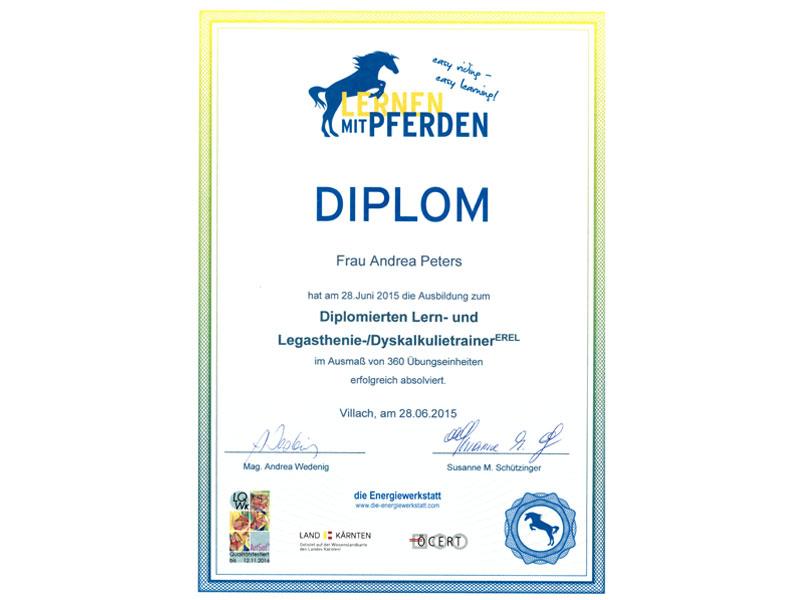 Diplom Andrea Peters - Lern- & Legasthenietrainerin EREL